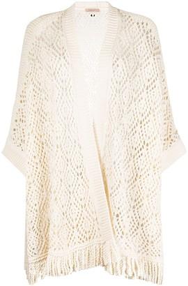 Twin-Set Longline Crochet Knit Cardigan