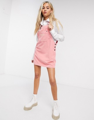 Kickers dungaree dress with front logo in cord