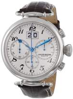 Akribos XXIV Men's Classic High Precision Chronograph Watch with White Dial and Brown Leather Strap AK628SS