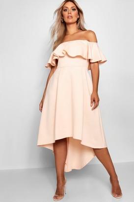 boohoo Plus Liz Off Shoulder Dropped Hem Midaxi Dress