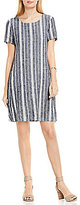 Vince Camuto Two By Short Sleeve Yarn Dye Linen Swing Dress