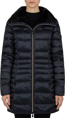 Save The Duck Long Iris Faux Fur-Collar Puffer Coat