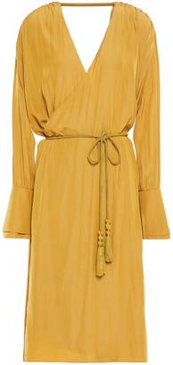 Lanvin Wrap-effect Cutout Crepe De Chine Dress
