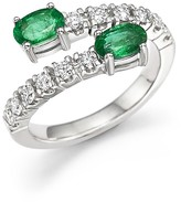 Bloomingdale's Emerald and Diamond Two-Stone Wrap Ring in 14K White Gold - 100% Exclusive