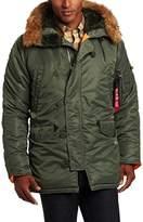 Alpha Industries Men's N-3B Slim-Fit Parka Jacket with Removable Faux-Fur Hood Trim, Sage/Orange, Large