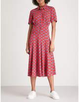 Sandro Floral-pattern woven midi dress