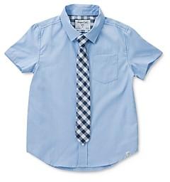 Sovereign Code Boys' Cotton Short-Sleeve Shirt & Plaid Tie - Little Kid