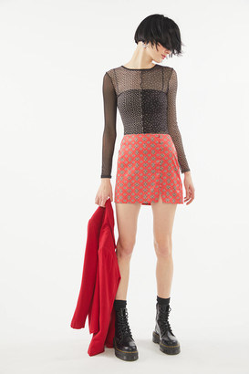 Urban Outfitters Portia Satin Notched Mini Skirt