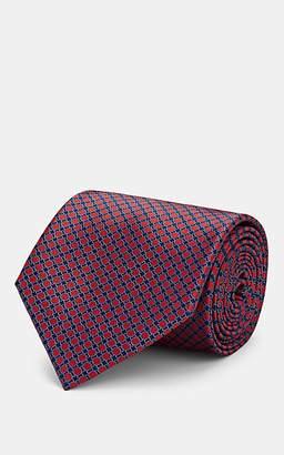 Brioni Men's Geometric-Print Silk Satin Necktie - Red