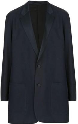 Julien David Navy Silk Long-line Blazer