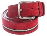 Bally Suede Striped Belt
