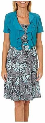 R & M Richards R&M Richards Women's 2 PCE Missy Ruffle Jacket and Dress Teal 12