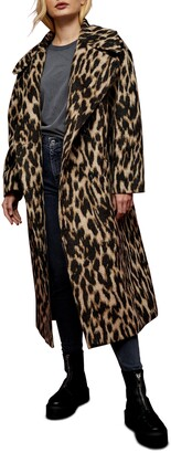 Topshop Leopard Print Maxi Coat