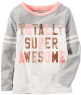 "Carter's Toddler Girl Totally Super Awesome ""Glitter Graphic Tee"