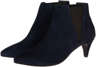 Monsoon Serenity Suede Point Ankle Boots Blue