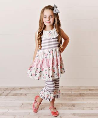 Adorable Sweetness Girls' Leggings Gray/Pink - Gray Stripe Yoke Tunic & Pink Floral Ruffle-Hem Capri Leggings - Toddler & Girls