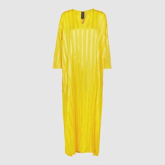Zero Maria Cornejo Yellow Fine Plisse Linen-Silk Blend Kaftan Size S