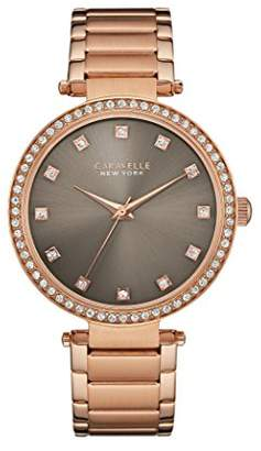Caravelle New York Rose Gold T Bar Women's Quartz Watch with Grey Dial Analogue Display and Rose Gold Bracelet 44L211
