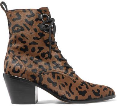 Diane von Furstenberg Dakota Leopard-print Calf Hair Ankle Boots - Leopard print