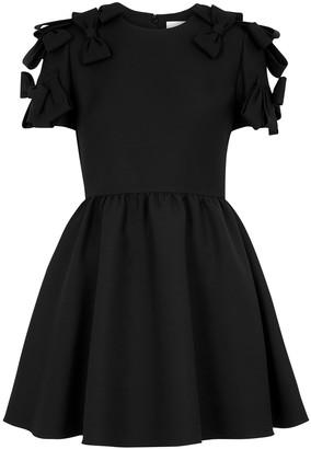 Valentino Black bow-embellished wool-blend mini dress