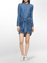 Calvin Klein Bella Mid-Blue Belted Shirtdress