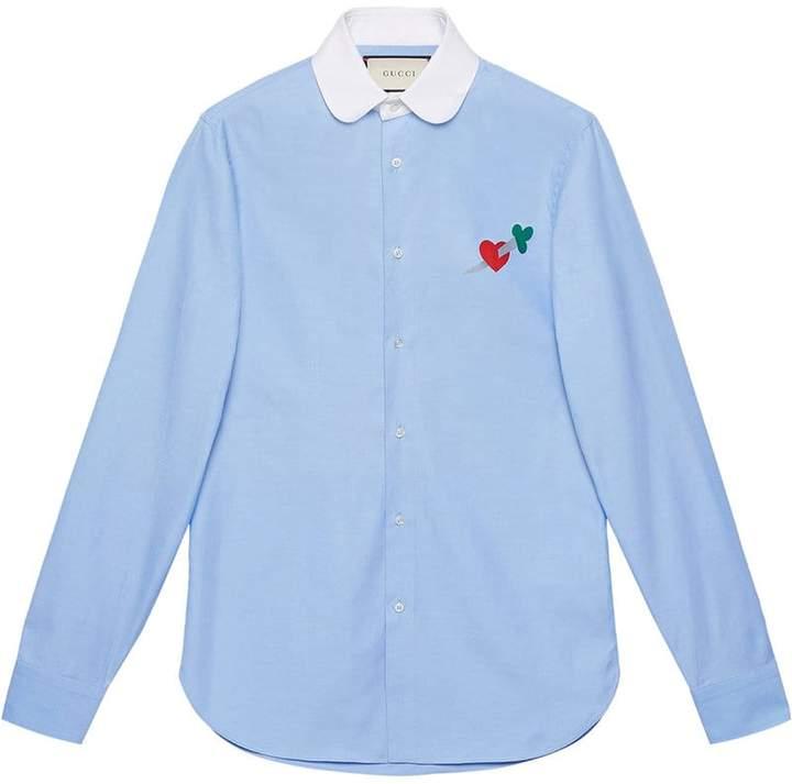 Gucci Pierced heart cotton shirt