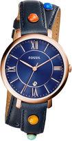 Fossil Women's Jacqueline Multicolor Stone Blue Leather Wrap Strap Watch 36mm ES4102