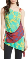 Diane von Furstenberg Women's Asymmetrical Mixed Print Top