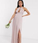 TFNC Petite Petite bridesmaid exclusive pleated maxi dress in pink