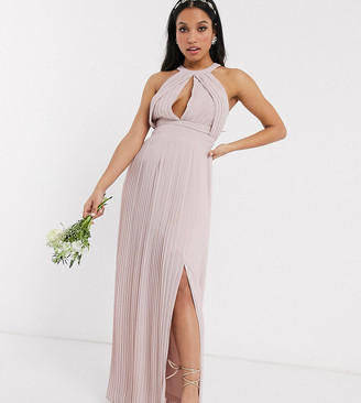 TFNC Petite bridesmaid exclusive pleated maxi dress in pink