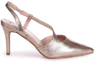 Linzi BERKELEY - Cracked Gold Wrap Around Sling Back Court Heel