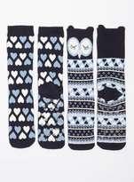 Dorothy Perkins Navy Owl 2 Pack Slipper Socks