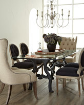 Horchow Stockard Dining Table, Donabella Tufted Chairs, & Black Linen Chairs