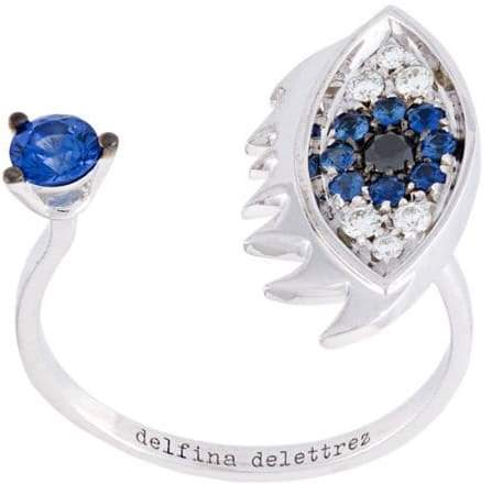Delfina Delettrez 'Eyes on me piercing' diamonds and sapphires ring