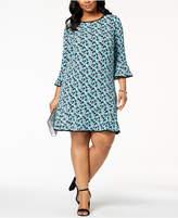 MICHAEL Michael Kors Size Floral-Print Bell-Sleeve Dress