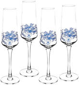 Spode Set Of 4 Blue Italian Champagne Flutes