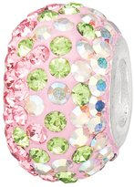 JewelStop 925 Sterling Silver Lite Pink & Created Opal Crystal Charm Bead