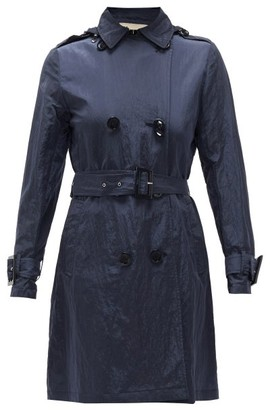 Herno Crinkled Technical Shell Hooded Coat - Womens - Navy