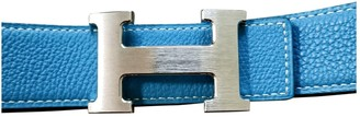 Hermes H Blue Leather Belts