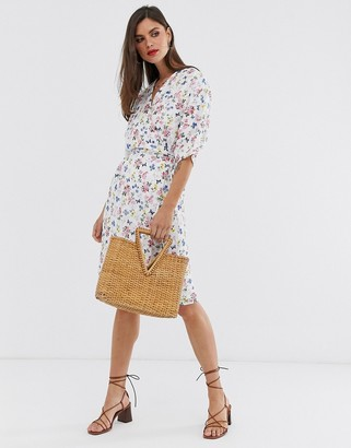 Liquorish wrap midi dress in white floral print
