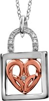 Jessica Simpson Diamond Accent Heart Lock Pendant in Sterling Silver with 10K Rose Gold