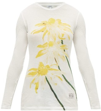 Loewe Floral-print Long-sleeved Cotton-jersey T-shirt - Womens - Yellow Print