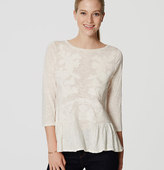 LOFT Lace Applique Peplum Tee