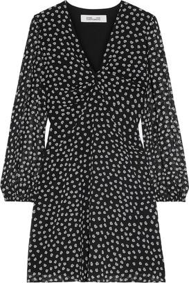 Diane von Furstenberg Kala Twist-front Floral-print Chiffon Mini Dress