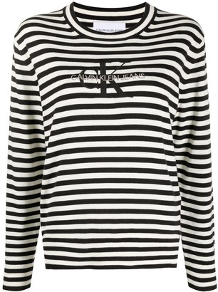 Calvin Klein Jeans Embroidered Logo Striped Jumper