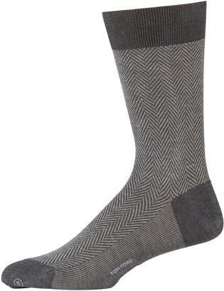Tom Ford Men's Herringbone Crew Socks