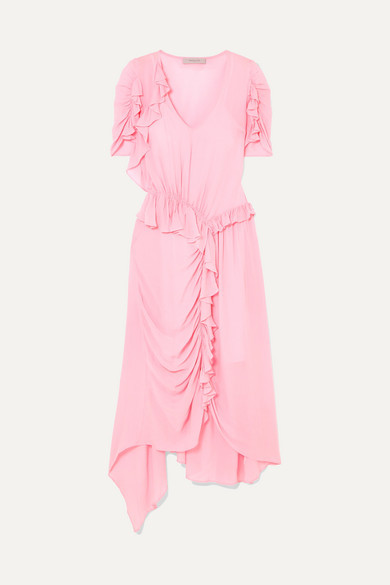 Preen Line Ayaka Ruffled Ruched Asymmetric Crepe De Chine Dress - Pastel pink