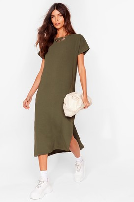 Nasty Gal Womens Slits Up to You Crew Neck Midi Dress - Khaki
