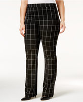Alfani Plus Size Printed Tummy-Control Trousers, Only at Macy's