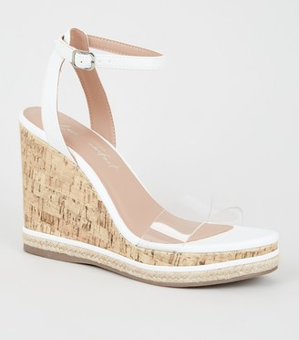 New Look 2 Part Clear Strap Cork Wedges